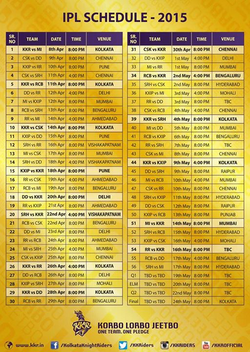 Ipl Season 8 Time Table Schedule Date Venue Timing